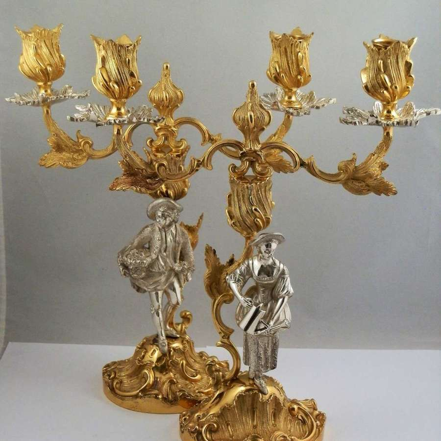 Elizabeth II pair of silver gilt candelabra, Mappin & Webb London 1972