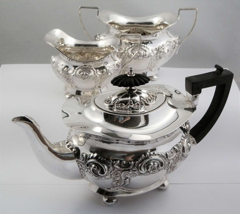Edwardian silver 3 piece tea set, William Aitken 1904