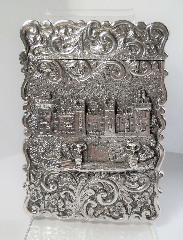 Victorian silver card case Windsor Castle, Birmingham 1855