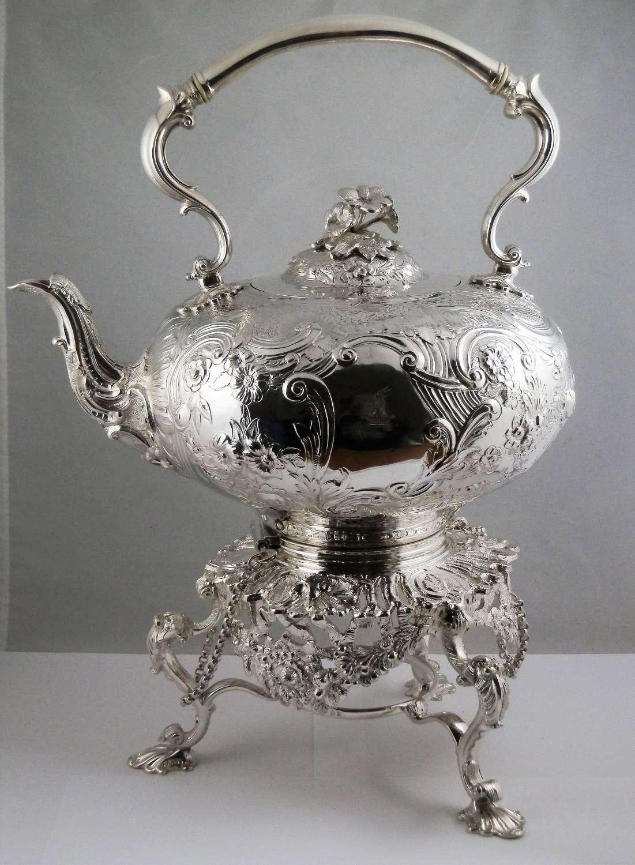 Victorian Irish silver kettle on stand, Dublin 1866