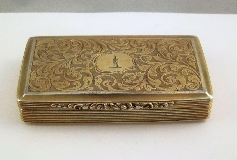 George IV silver gilt snuff box, Francis Clark, Birmingham 1827