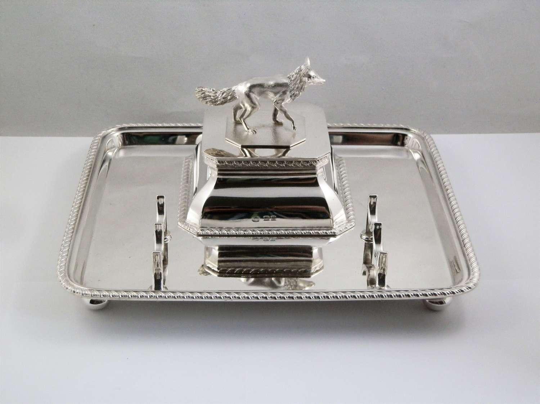 A George V silver desk inkwell, Hukin and Heath, 1919