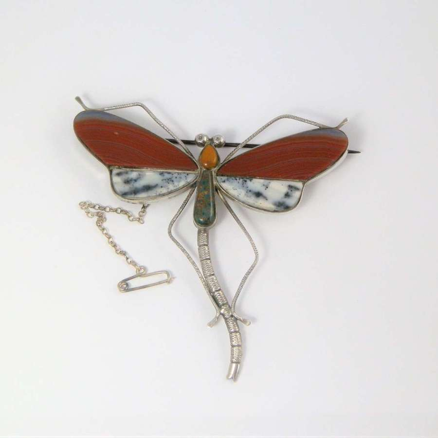 A Victorian Scottish agate and silver dragonfly brooch.