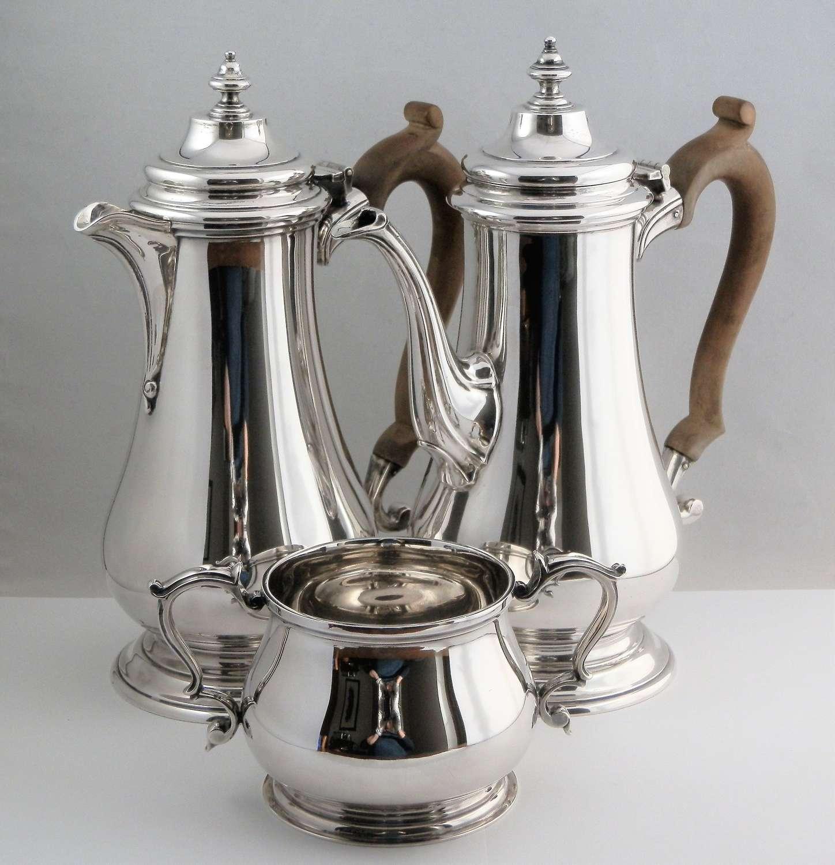 An Elizabeth II silver 3 piece coffee set, C.J.Vander, London 1963