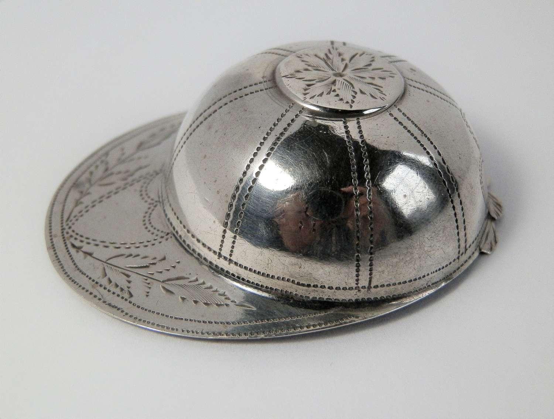George III silver jockey cap caddy spoon, John Thornton 1799