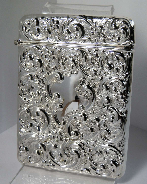 Edwardian Chester silver card case, Henry Mathews, 1905