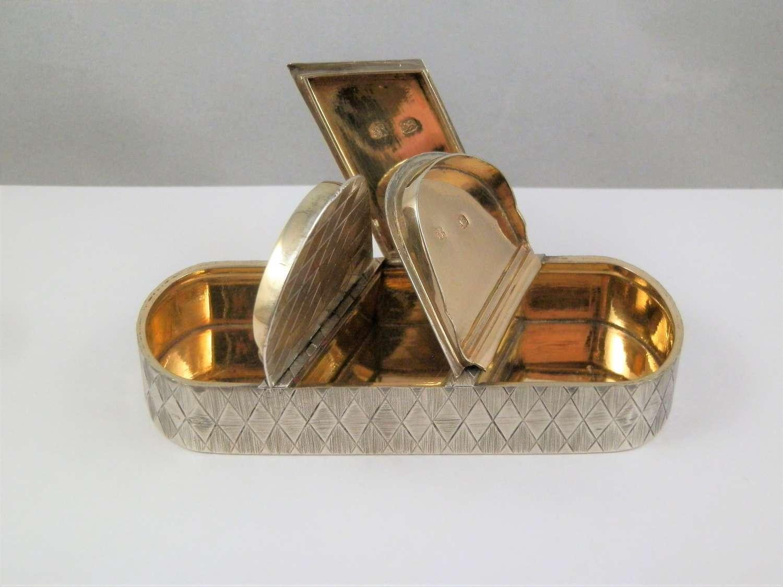 George III silver three compartment snuff box, London 1810