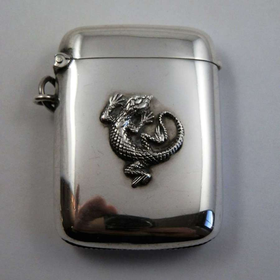 Edwardian silver vesta case with cast dragon, Hassler 1907