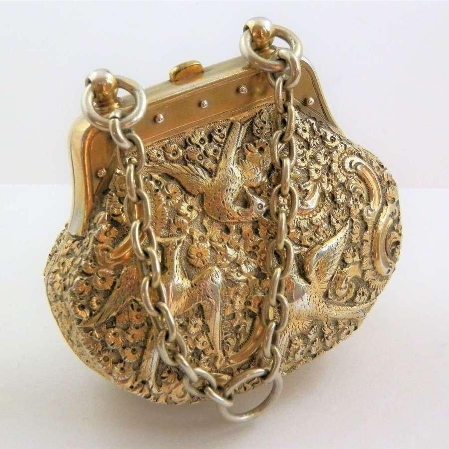 A Victorian silver gilt purse, Thomas Johnston, London 1874