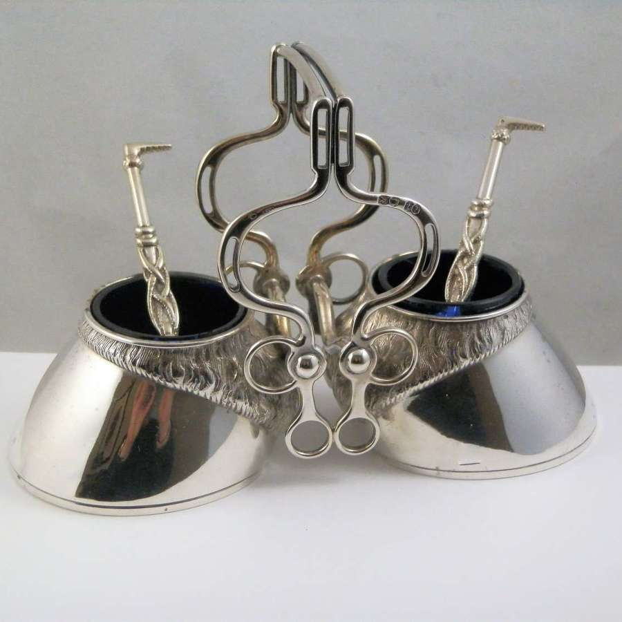 A Victorian double salt cellar with spoons, London 1874